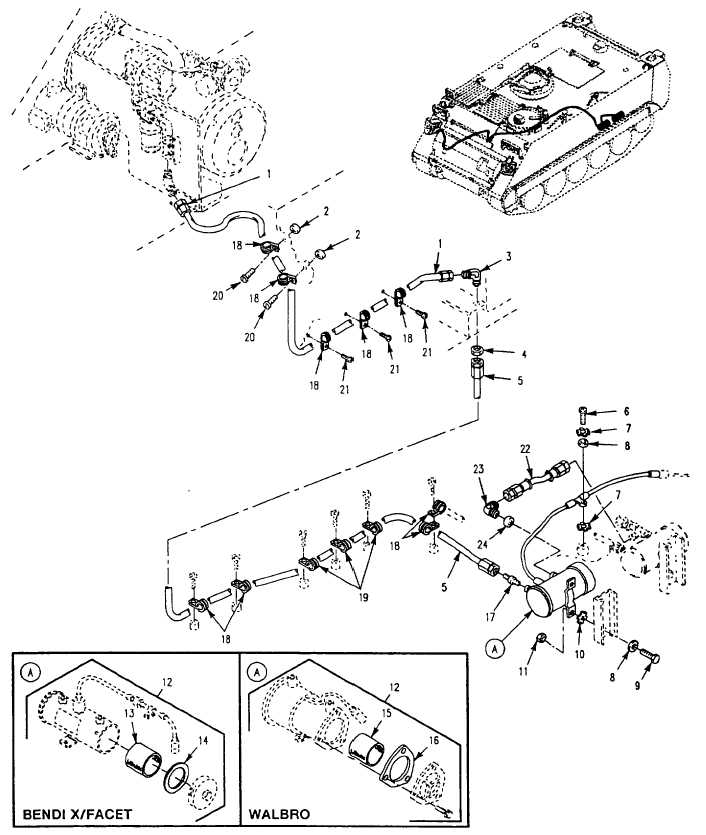 Figure 364 Engine Coolant Heater Fuel Lines And Fittings M113a3